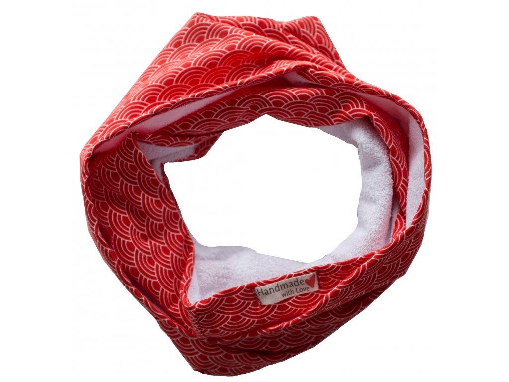 Needo bryndák INFINITY šála (červená z BIO bavlny)