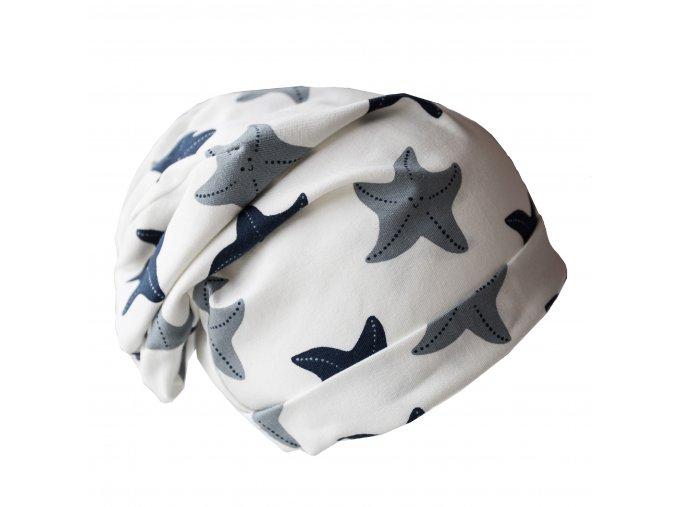 Čepice - bílá s mořskými hvězdami