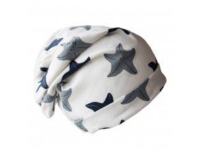 Čepice - bílá s mořskými hvězdami (vel.L)