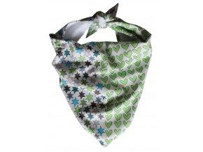 Needo Bryndák pro postižené - šátek (bílý s hvězdičkami a srdíčkami)