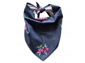 Needo Bryndák pro postižené - šátek (džínový s kytičkami)