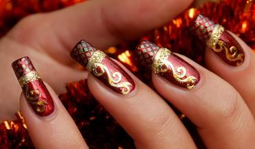 Vánoční zdobení nehtů