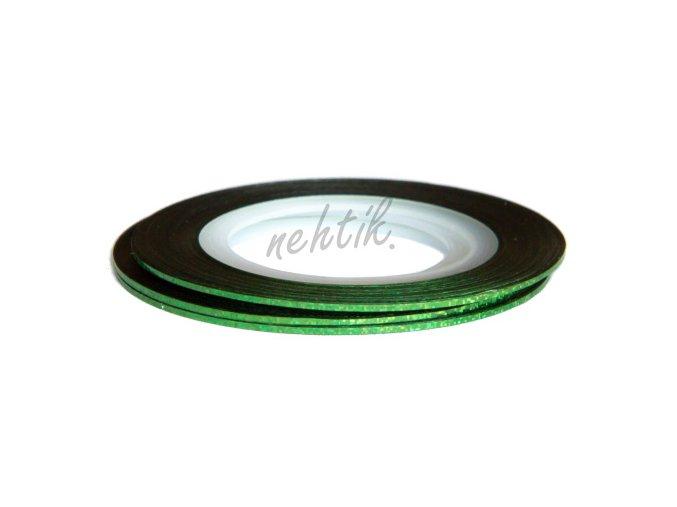 Zdobení - Nail Art pásek zelený hologram