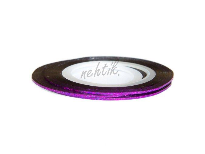 Zdobení - Nail Art pásek fialový hologram