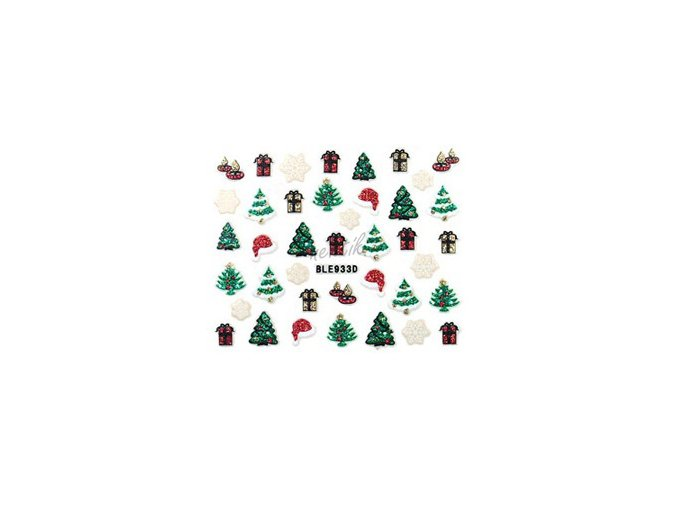 Samolepky vánoční glitrové - Nail Sticker BLE933D