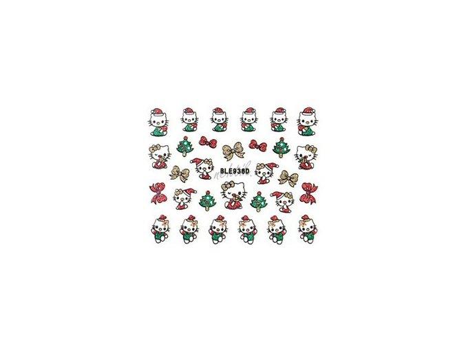 Samolepky vánoční glitrové - Nail Sticker BLE938D