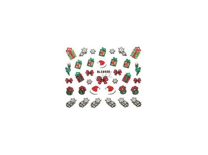 Samolepky vánoční glitrové - Nail Sticker BLE950D