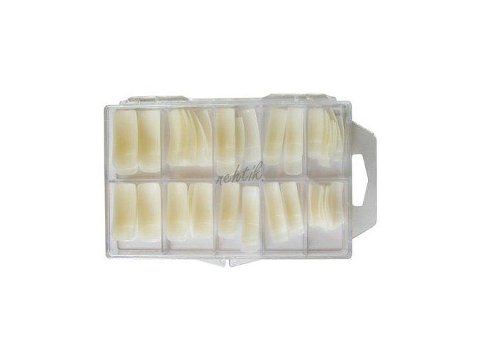 Nehtové tipy mléčné rovné - 100ks  BOX Cedro