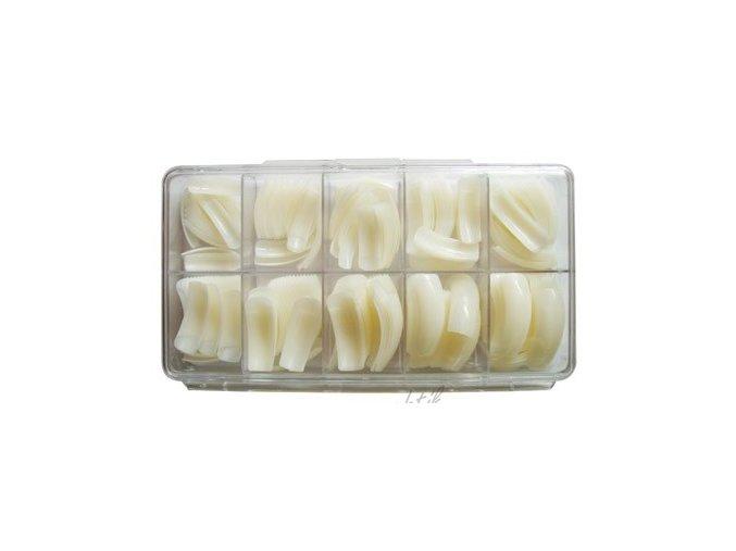 Nehtové tipy mléčné zahnuté - 250ks BOX