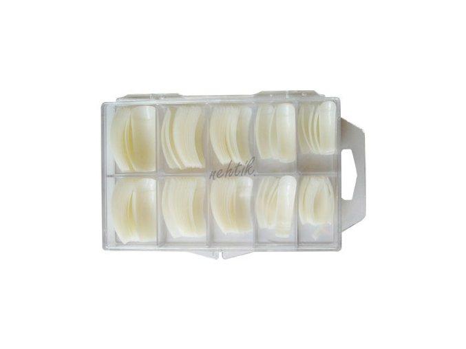 Nehtové tipy mléčné zahnuté - 100ks BOX