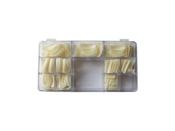 Nehtové tipy mléčné zahnuté - 500ks BOX