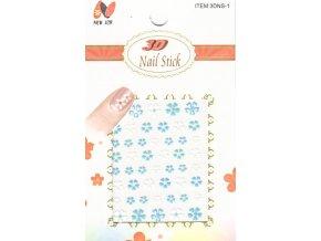 Samolepky kytičky - modro-bílé  300106