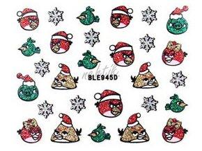 Samolepky vánoční glitrové - Nail Sticker BLE945D