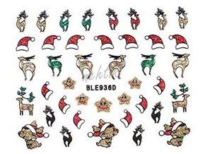 Samolepky vánoční glitrové - Nail Sticker BLE936D