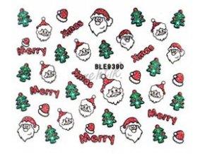 Samolepky vánoční glitrové - Nail Sticker BLE939D