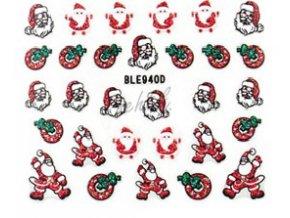 Samolepky vánoční glitrové - Nail Sticker BLE940D