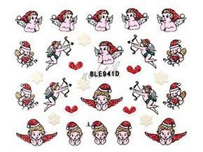 Samolepky vánoční glitrové - Nail Sticker BLE941D