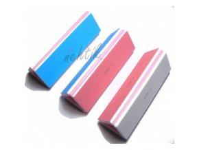 Blok na nehty třístranný modro-růžový-bílý