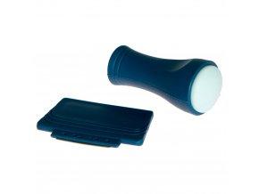 Tiskátko a kovová stěrka na razítkování modré