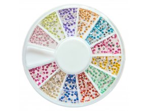 Zdobení nehtů karusel barevné kamínky jemné