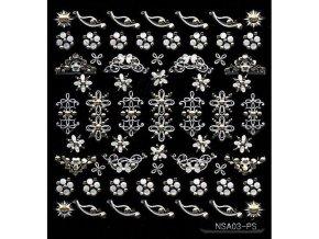 Samolepky stříbrný motiv + kamínek - NSA03-ps