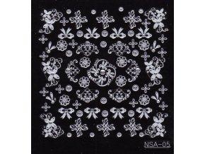 Samolepky stříbrný motiv + kamínek - NSA05-ps