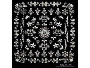 Samolepky stříbrný motiv + kamínek - NSA16-ps