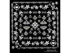 Samolepky stříbrný motiv + kamínek - NSA18-ps