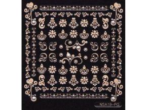 Samolepky zlatý motiv + kamínek - NSA19-pg