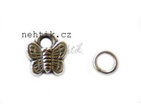 Piercing/přívěšek do nehtu stříbrný motýlek 1ks