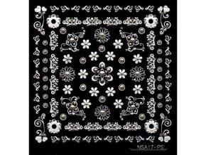 Samolepky stříbrný motiv + kamínek - NSA17-ps