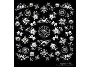 Samolepky stříbrný motiv + kamínek - NSA01-ps