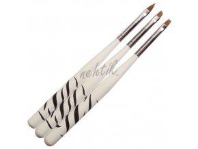 Štětce na nehty sada 3ks zebra