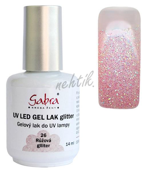GABRA UV gel lak č. 26 - růžová glitter
