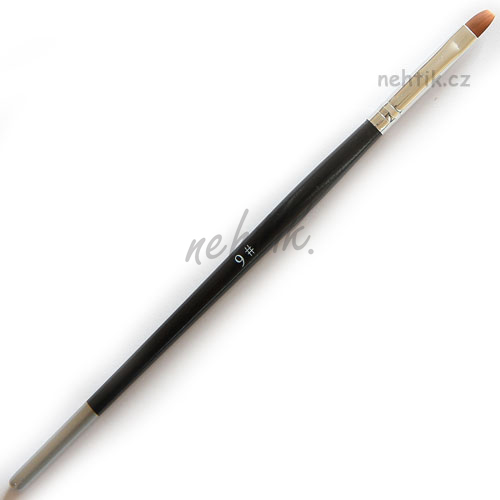 Štětec dřevěný černý, plochý č. 6, na gelové nehty