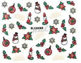 Samolepky vánoční glitrové - Nail Sticker BLE949D