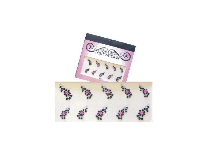 Samolepící nálepky černé s růžovými kamínky