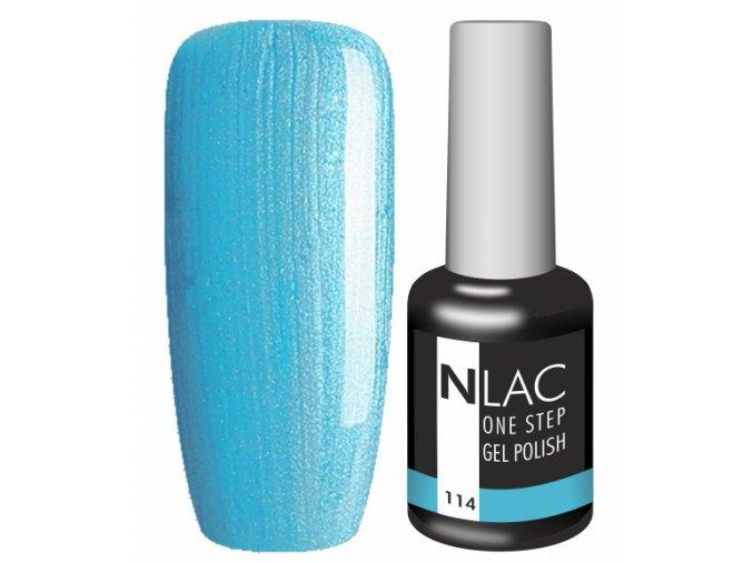 Gel lak na nehty NLAC One step 114 - perleťová tyrkysová