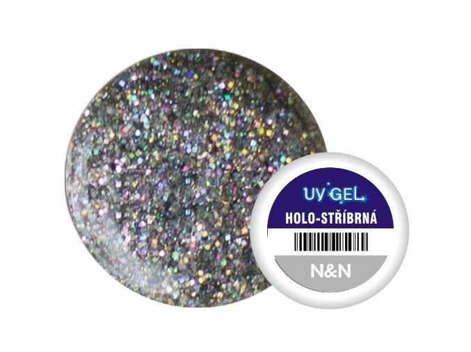 Barevný UV gel N&N 5ml - barva holo-stříbrná
