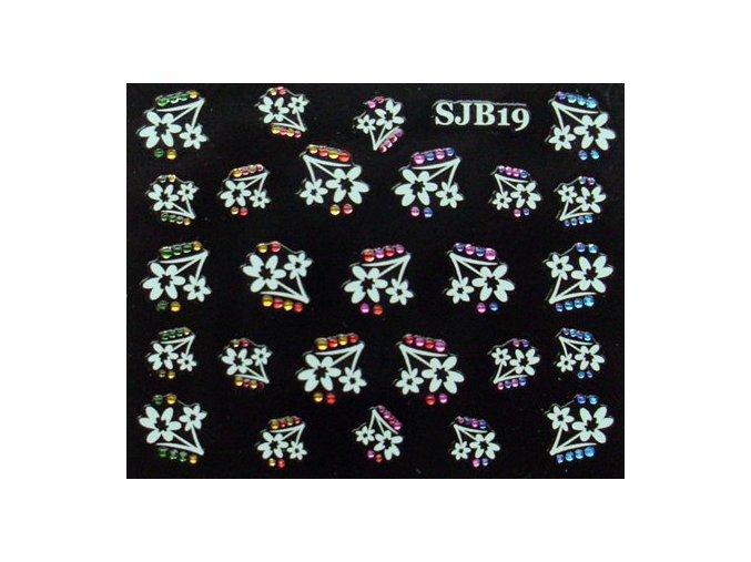 Samolepící kytičky bílé s barevnými kamínky