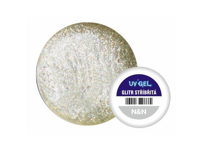 Barevný UV gel N&N 5ml - barva glitrová stříbřitá