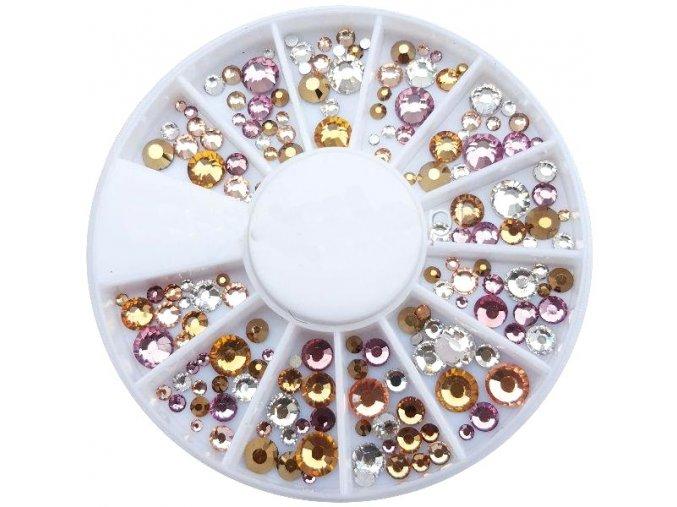 Karusel - mix kamínků zlatých a růžových