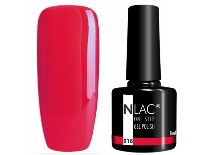 gel lak na nehty NLAC One step 018 - malinová červená