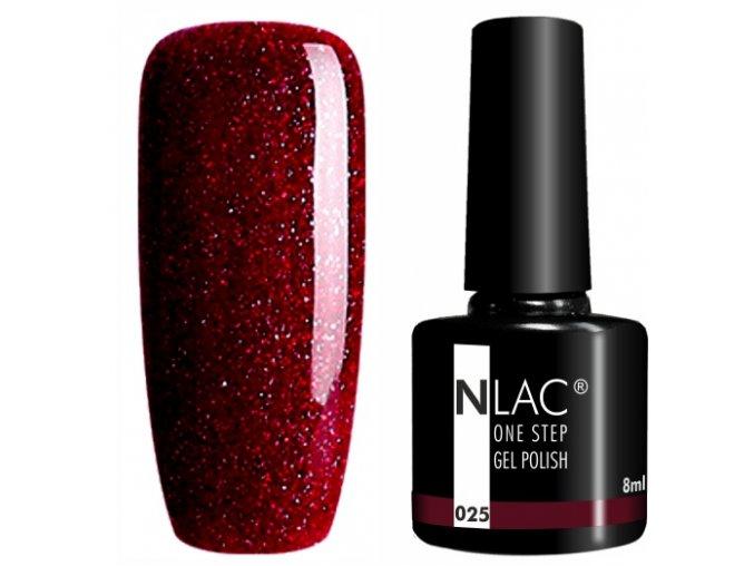 gel lak na nehty NLAC One step 025 - glitr rubínová