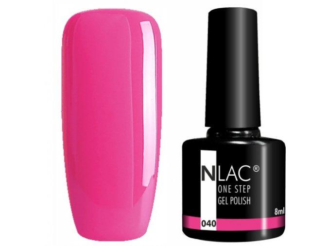 gel lak na nehty NLAC One step 040 - zářivá růžová