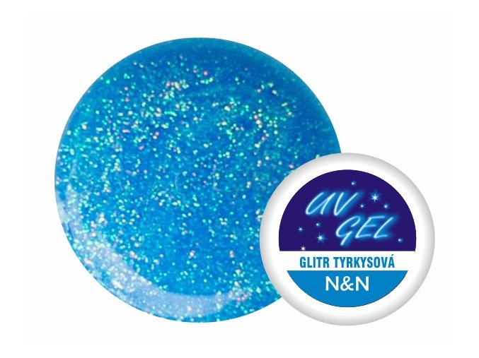 Barevný UV gel N&N 5ml - barva glitr tyrkysová