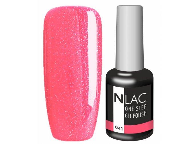 Gel lak NLAC One step 041 - glitrová červená