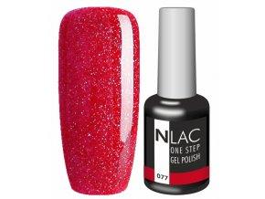 Gel lak NLAC One step 077 - třpytivá červená
