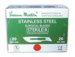 Čepelka skalpelová sterilní nerezová (SWANN MORTON) balení 100 ks