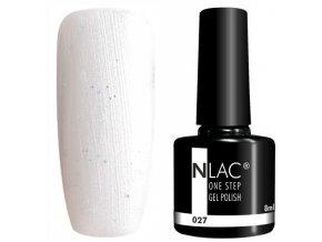 gel lak na nehty NLAC One step 027 - třpytivá bílá